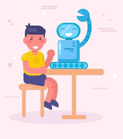 Boy making robot Vector. Cartoon. Isolated art Flat