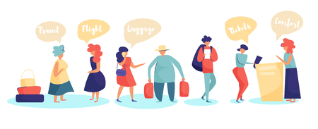 People in the queue at the airport. Passenger check-in Desk Vector. Cartoon. Isolated art on white background. Flat
