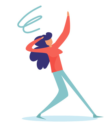 Fainting, dizziness Vector. Cartoon. Isolated art on white background. Flat Woman
