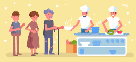 Canteen for the poor, homeless, charity Vector. Cartoon. Isolated art Distribution