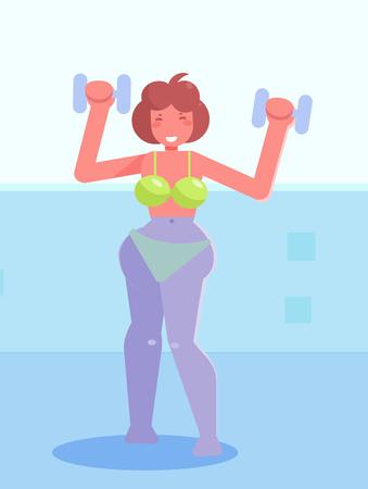 Aerobics in the pool Vector. Cartoon. Isolated art Flat
