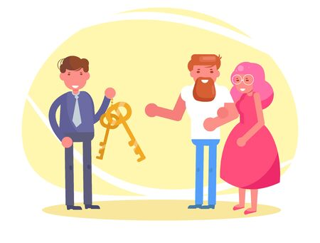 Charity Young couple receives the keys to the apartment or car Vector. Cartoon. Isolated art Ilustracja