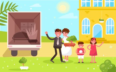 Family moves to a new home Vector. Cartoon. Isolated art Flat Ilustracja
