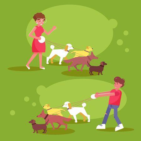 Dog walking services Woman and man walk dogs Zdjęcie Seryjne - 125972103