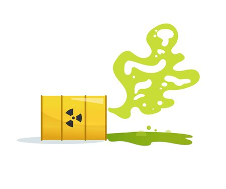 Toxic, radioactive waste. Barrel Vector. Cartoon. Isolated Stock Illustratie