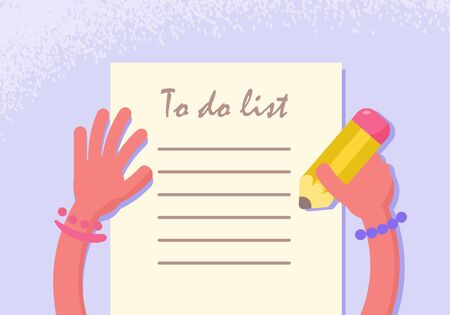 To do list. Hands and a pencil. . Cartoon. Isolated art