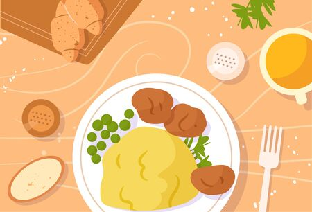 Table setting. Dinner, potatoes with meat balls, green peas, salt and pepper, parsley, croissants and juice Vector. Cartoon. Isolated art Flat