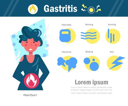 Gastritis Vector. Cartoon. Isolated art on white background. Flat