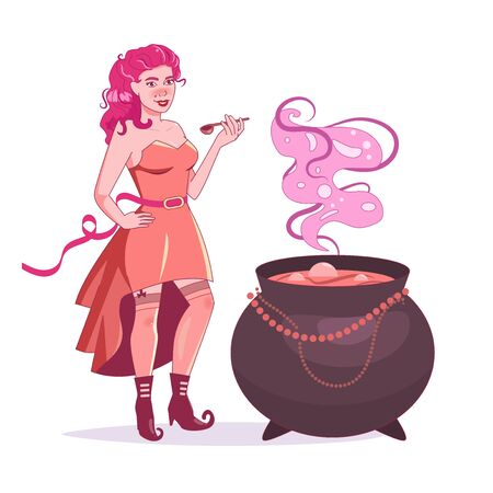 Witch brews a potion. Pin up style. Boots with curved noses Vector. Cartoon. Isolated art on white background Illusztráció