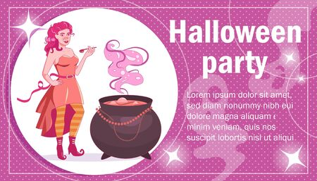 Flyer, poster, invitation card for Halloween Witch Vector. Cartoon. Isolated art on white background.