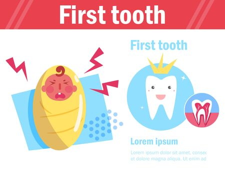 Babys first tooth Vector. Cartoon. Isolated art on white background. Flat Ilustracja