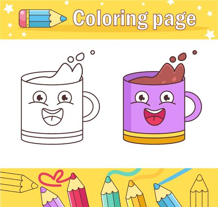 Cup Coloring page for kids Game for children Vector. Cartoon. Isolated art on white background. Flat Vettoriali