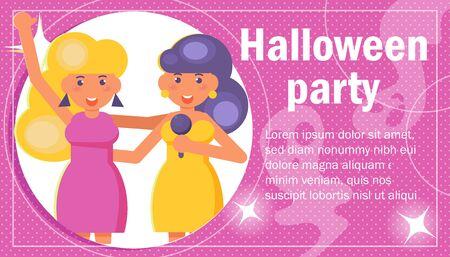 Karaoke halloween party Two girlfriends sing karaoke Vector. Cartoon. Isolated art  イラスト・ベクター素材
