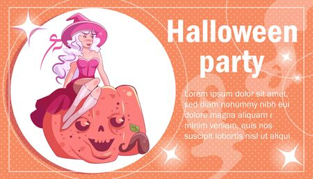 Flyer, poster, invitation card for Halloween Witch Vector. Cartoon. Isolated art on white background