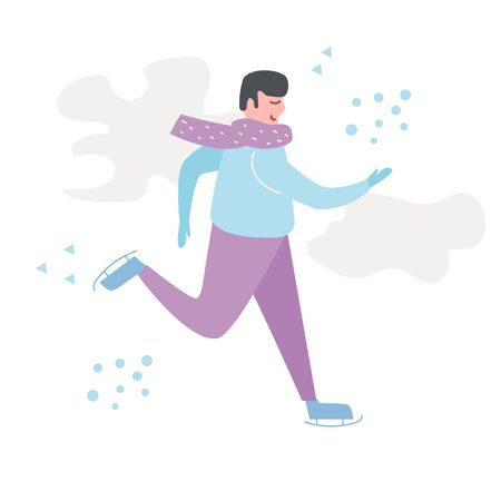 Winter Skating Sport Walk Vector. Cartoon. Isolated art on white background. Flat