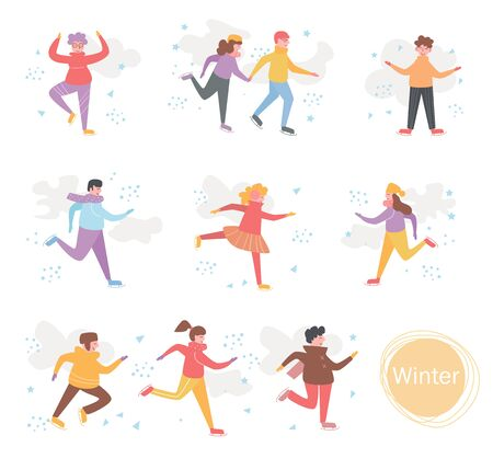 Winter Skating Sport Walk Vector. Cartoon. Isolated art on white background. Flat