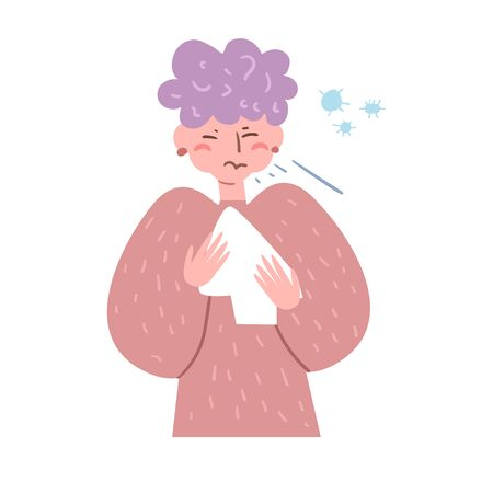 Sick, flu, cold, infection, germs, sneezes, aerobic Vector. Cartoon. Isolated art on white background.