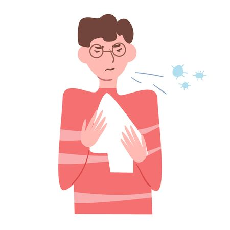 Sick, flu, cold, infection, germs, sneezes, aerobic Vector. Cartoon. Isolated art on white background. Flat Ilustracja