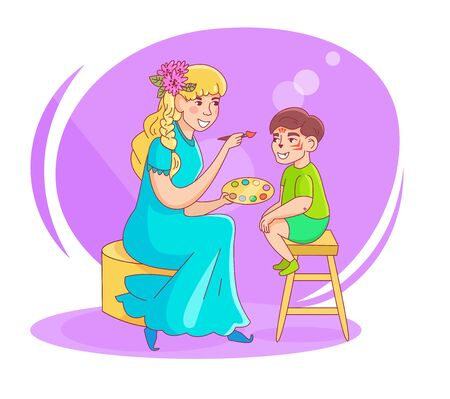Face painting Animator. Childrens holiday. Woman in a fairy costume. Drawing of a tiger on the face Vettoriali