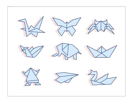 Origami Vector. Cartoon. Isolated art on white background.