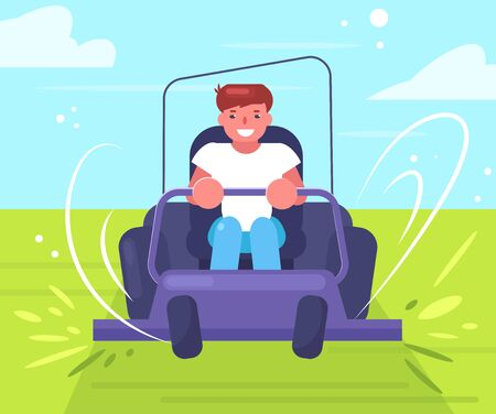 Lawn mower Vector. Cartoon. Isolated art Man Worker Vettoriali