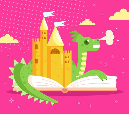 Childrens fairy tale dragon book illustration cartoon