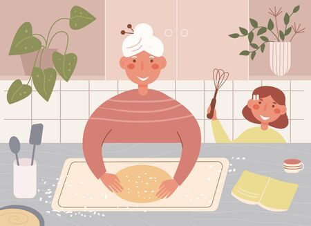 Grandma and granddaughter cook together Vector. Cartoon. Isolated art on white background. Flat