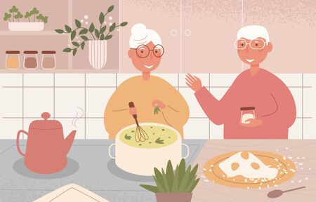 Grandma and grandpa cook together Vector. Cartoon. Isolated art on white background. Flat