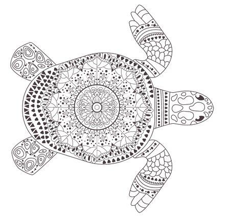 Turtle Coloring page Vector. Cartoon. Isolated art Ilustración de vector