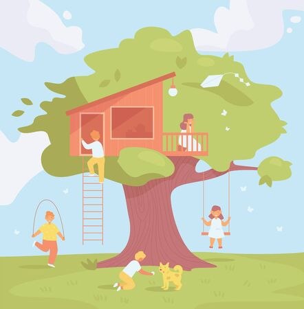Tree house for children Vector. Cartoon. Isolated art. Flat
