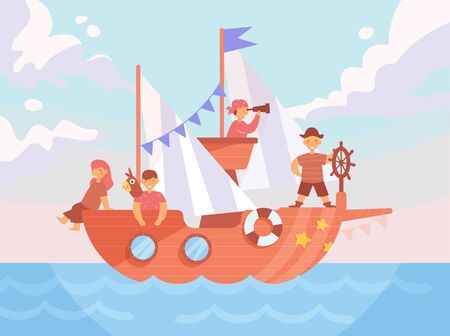 Children's pirate party Vector. Cartoon. Isolated art Flat Vettoriali