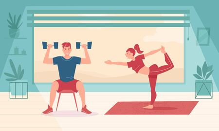 Fitness. Man lifts the dumbbells. Woman practices yoga Vector. Cartoon. Isolated art Flat