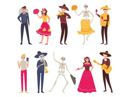 Halloween set Costumes Dia de los muertos Vector. Cartoon. Isolated art on white background. Flat