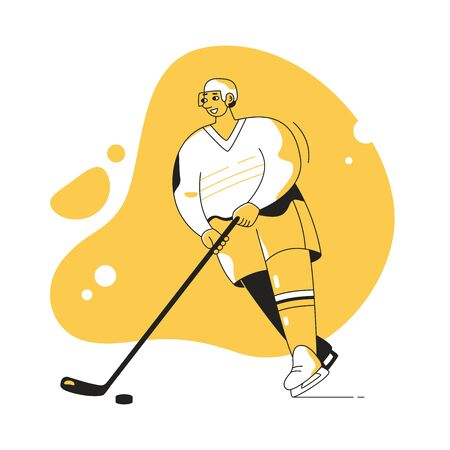 Hockey player with a stick Vector. Cartoon. Isolated art on white background. Flat
