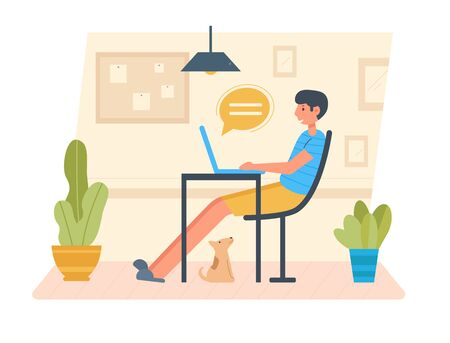 Man works on a laptop at home. Freelance Vector. Cartoon. Isolated art on white background Vettoriali