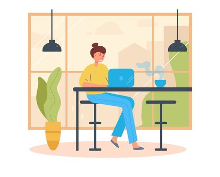 Female freelancer . Working on a laptop in a cafe Vector. Cartoon. Isolated art on white background. Flat