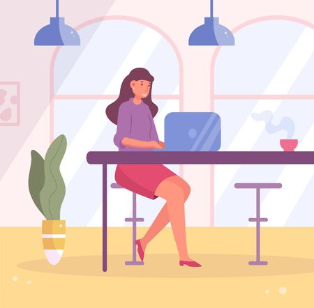 Woman working on a laptop in a cafe Vector. Cartoon. Isolated art.