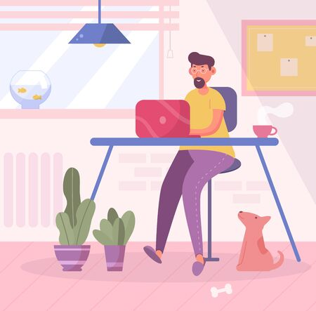 Freelancer at home. Vector. Cartoon. Isolated art. Vettoriali