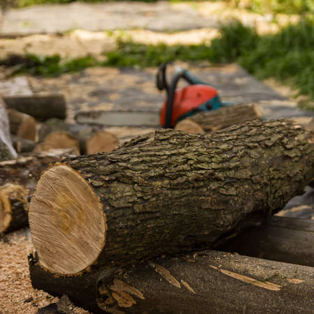chainsaw on the background of sawn logs. firewood for the winter Stock Photo - 119842463