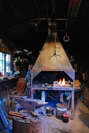 forge: Old forge. forge in the Middle Ages