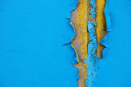 flaking: Old cracked paint pattern on concrete background. Peeling paint.