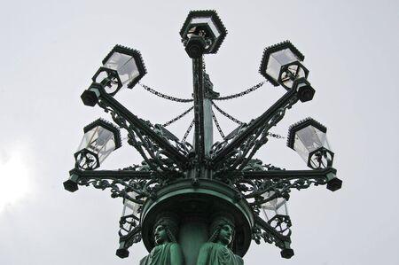 str: Art nouveau streetlight on Loretanska Str. Prague. Czech republic.
