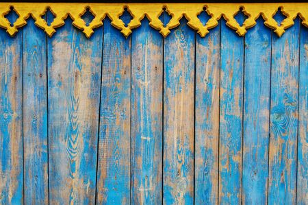 bordering: blue wooden planks, wooden background with yellow bordering