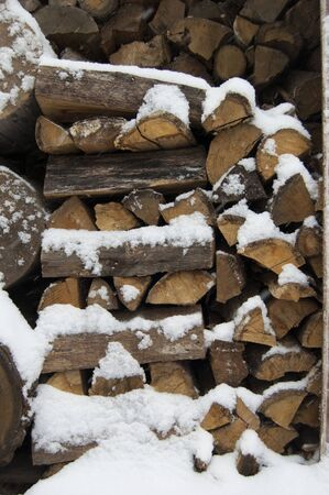 corded: Firewoods, log pieces stored under snow in winter