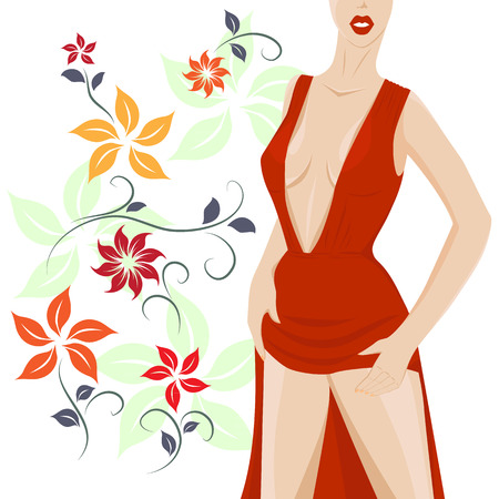 girl in red dress: the girl in the red dress standing next to flowers Illustration