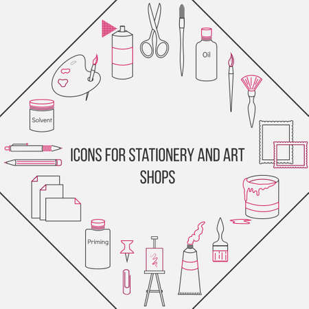 pen and marker: Set of painted sewing accessories isolated on a light background Illustration