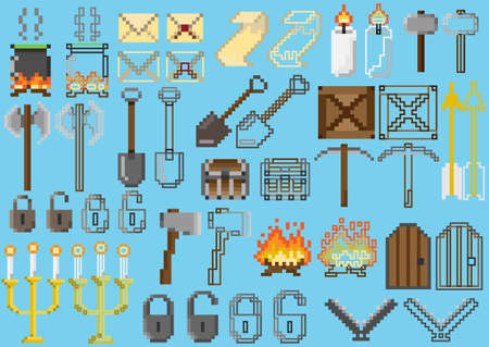 A set of pixel elements for games and mobile applications dedicated to a medieval or adventure theme Illustration
