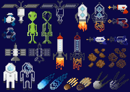 Set of pixel objects on a space theme Illustration