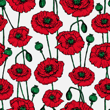 Bright seamless background with painted red poppies.