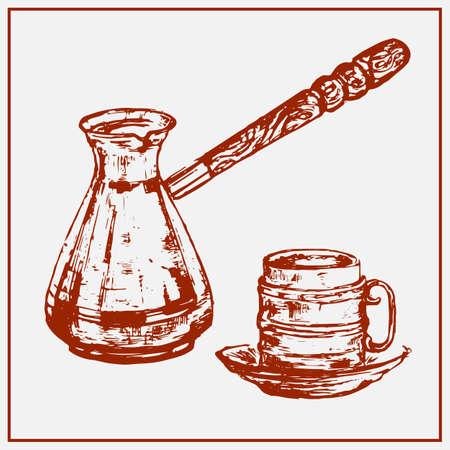 Gemalte Kaffeetasse und Cezve getrennt auf einem hellen Hintergrund.